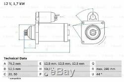 Démarreur pour Skoda VW Seat Audi Roomster 5J Axr Bnv Bms BLS BSW Bxe Atd AMF