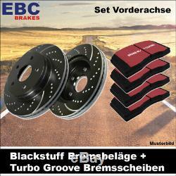 EBC Kit de Freins Essieu Étoffe Noire Plaquettes Turbo Groove Disques 25326